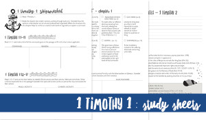 Study Sheets for digging deeper into 1 Timothy 1