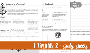 1 Timothy 2 Study Sheets {Hive Resources}