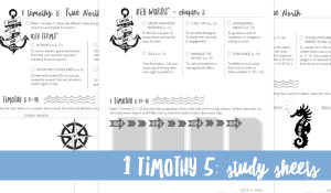 Study Sheets for 1 Timothy 5 {Hive Resources}